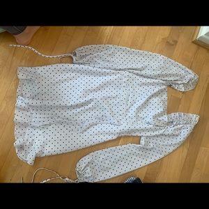 Ali & Jai long sleeve white polka dot dress